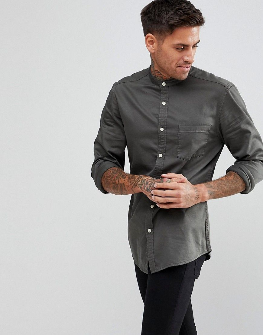 9f33ee048bb ASOS Slim Stretch Denim Shirt With Grandad Collar - Green