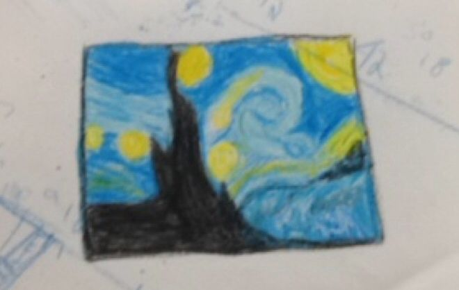 Starry nigh in crayon