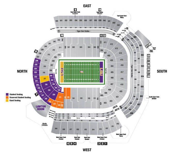 2014 Tiger Stadium Seating Chart Lsu Students Lsu Football Football Ticket Lsu Tigers Football