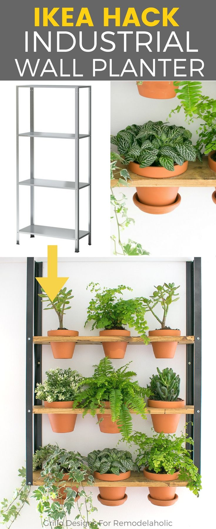 Hyllis ikea hack industrial wall planter en 2018 for Ikea plantes