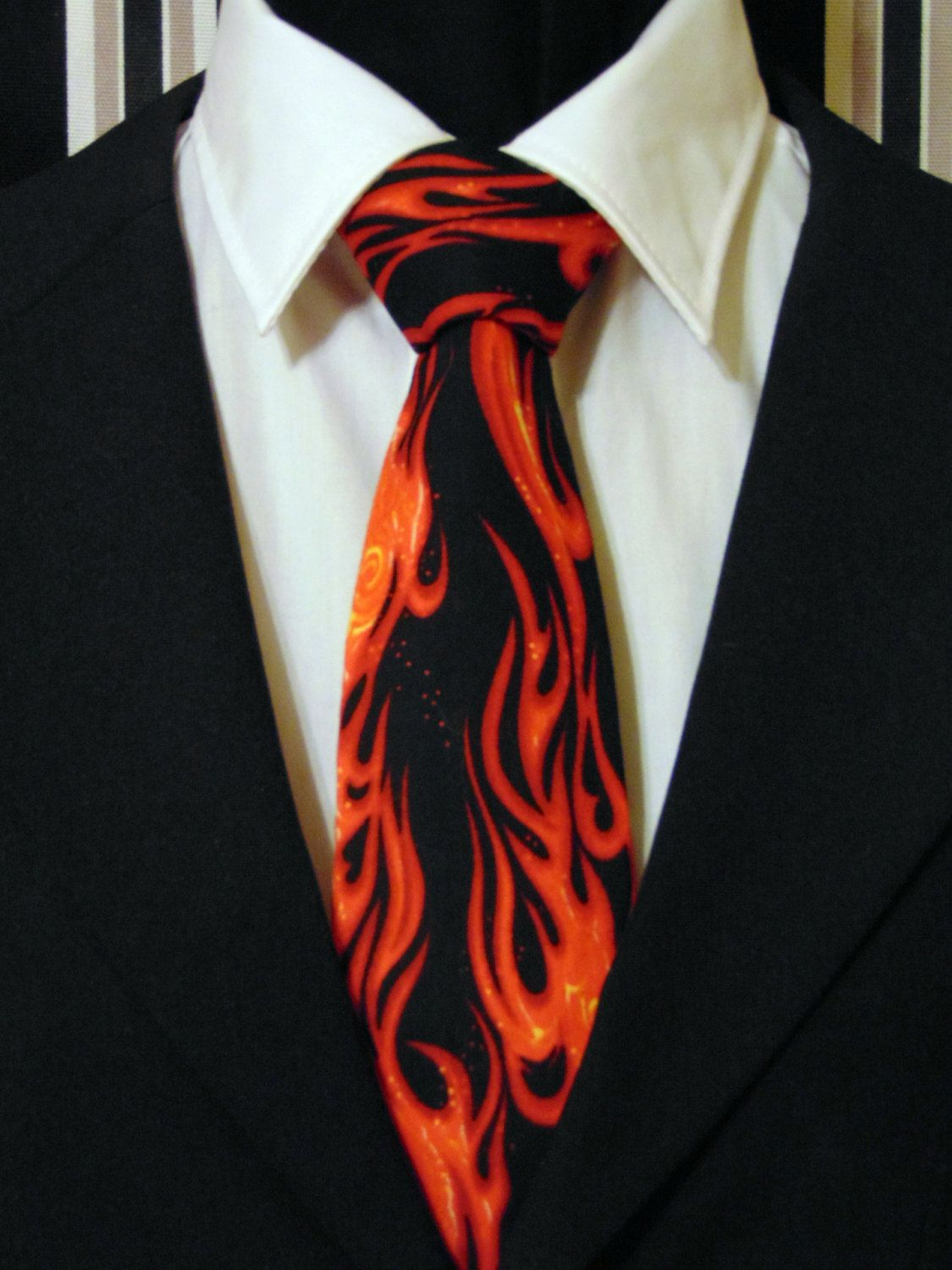 Flame Necktie, Flame Tie, Fire Necktie, Fire Tie, Mens Necktie, Mens Tie, Black Necktie, Black Tie, Red Necktie, Red Tie, Cotton Necktie by EdsNeckties on Etsy