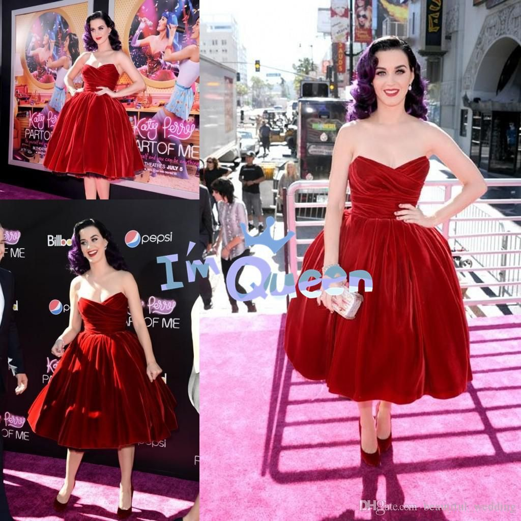 Katy Perry Hot Red Prom Dress Velvet Sweetheart Pleats Tea Length ...