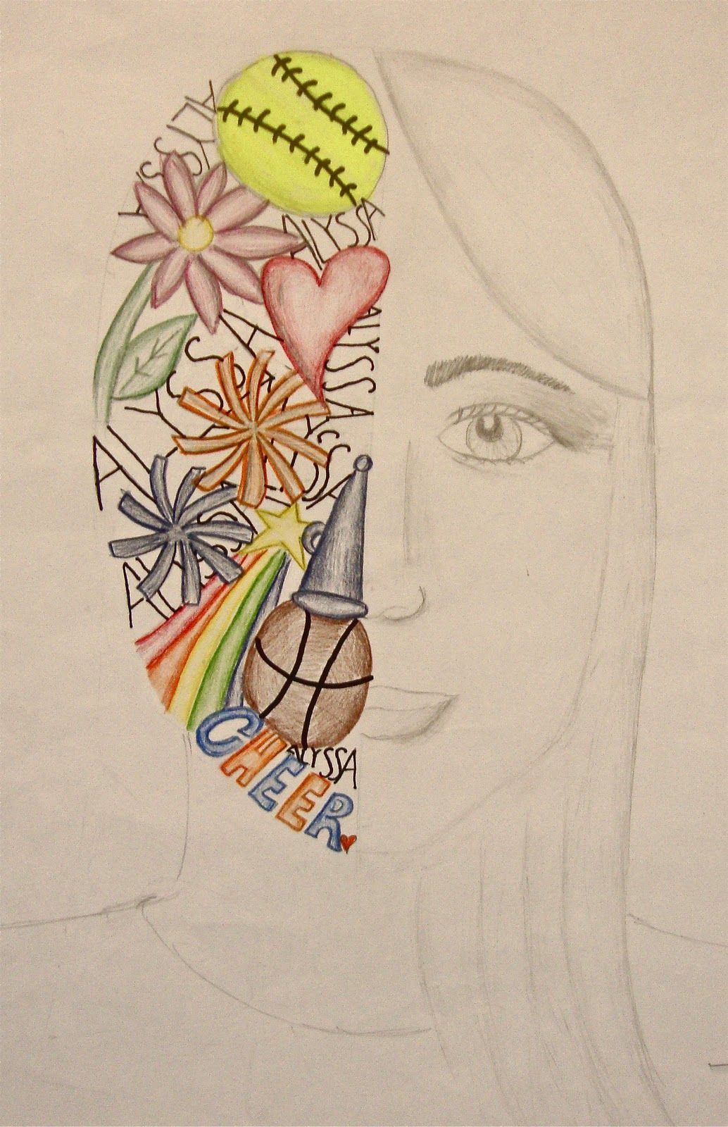 Art Paper Scissors Glue Split Face Self Portrait