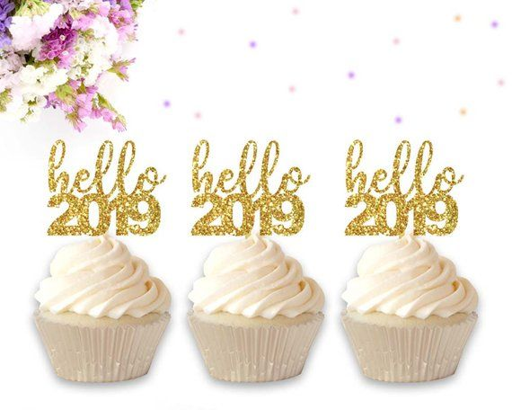 Hello 2019 Cupcake Toppers, Happy 2019, New Year Eve, New ...