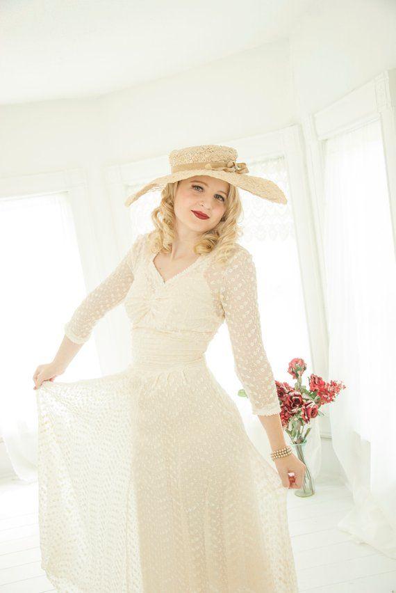 Witte Jurk Op Een Bruiloft.Vintage 1940s Pure Witte Jurk Geborduurd Floral Formele Bruiloft