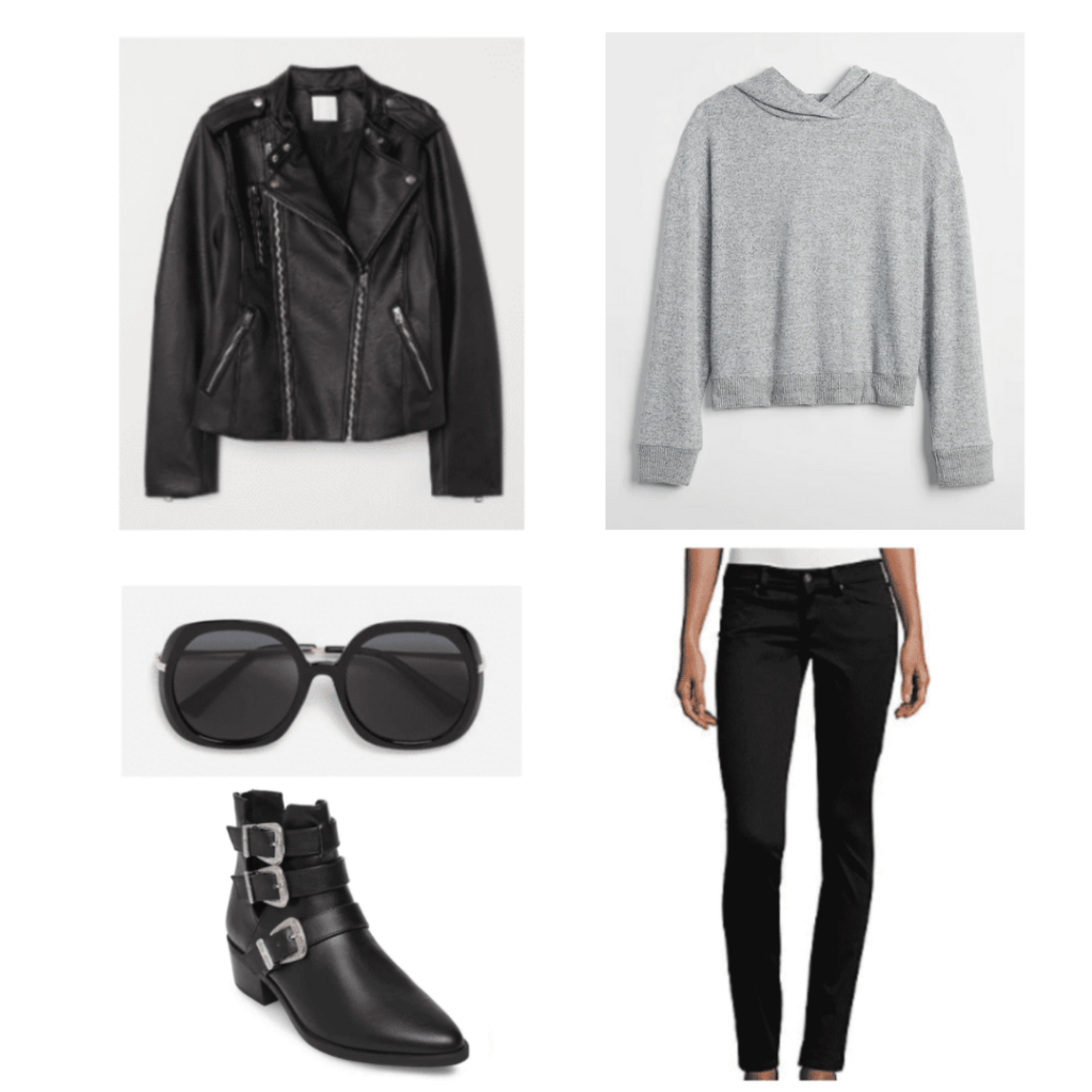 black leather jacket, gray hoodie, black round sunglasses