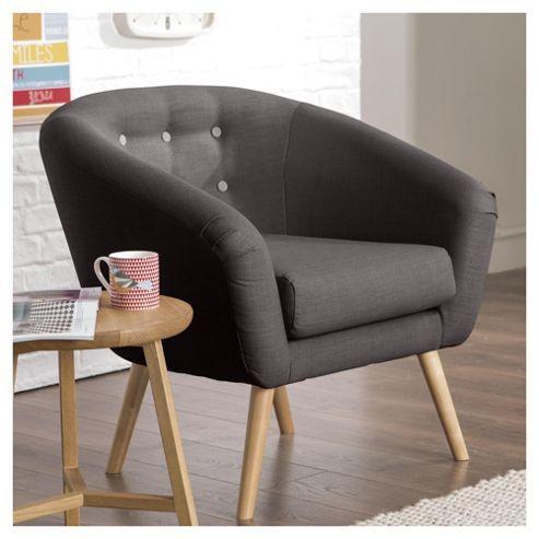 Jemima Tub Chair Charcoal/Grey Button