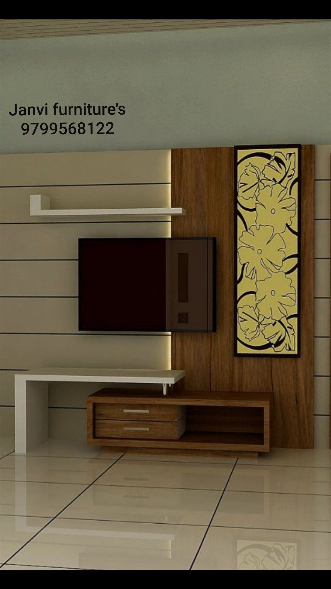 Lcd Panel Design Tv Unit Design Tv: Pin By Janvi Furniture's Kekeri 9799568122 On Janvi