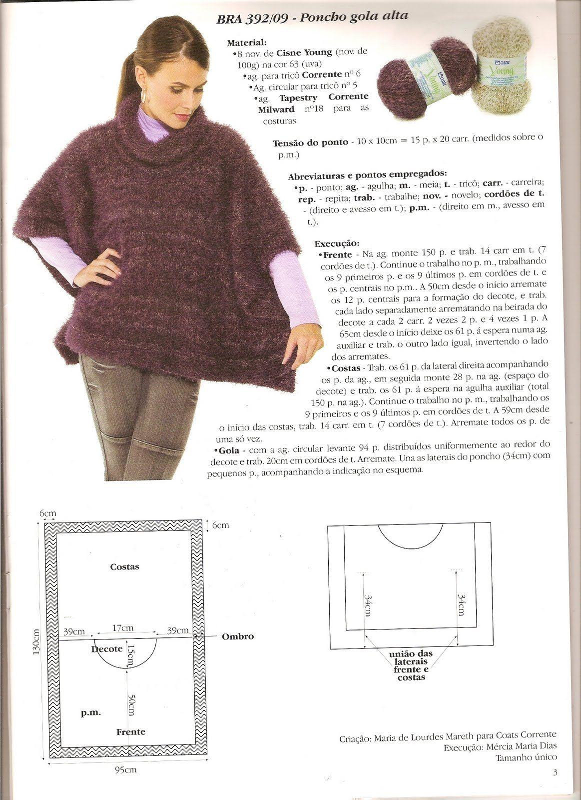 Mania de linhas - trico, croche e tear: Poncho Gola Alta | Projetos ...