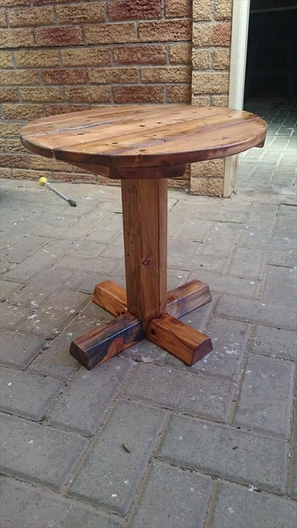 DIY Pedestal Pallet Round Coffee Table Pallets Rounding and Coffee