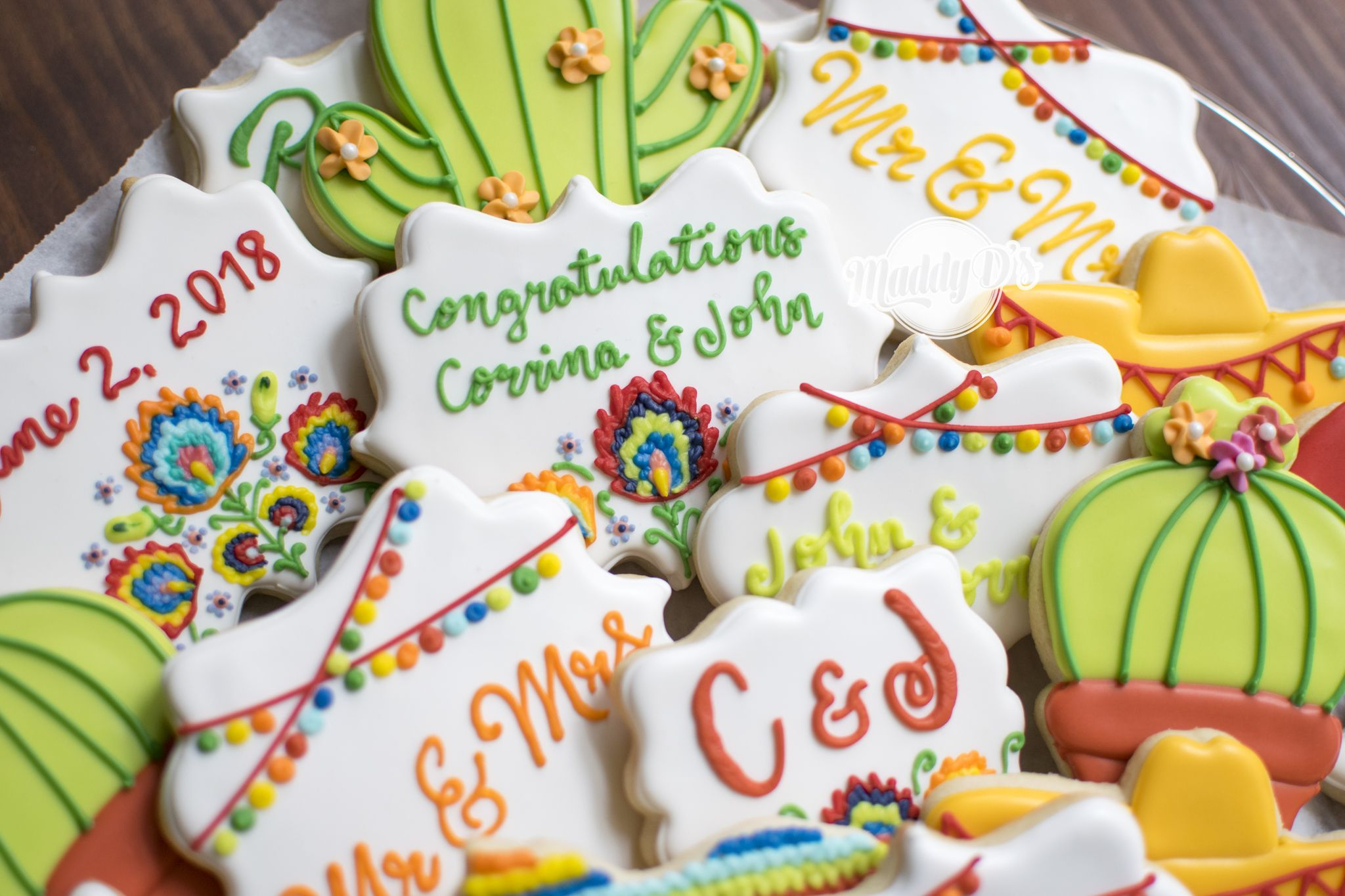 Wedding Cookies, Fiesta Wedding Cookies, Mexican Themed Wedding, Cactus Cookies,