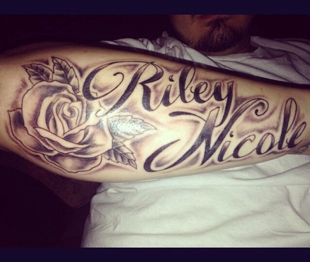 Riley Nicole Name With Rose Tattoo On Right Forearm Forearm Tattoos Forearm Name Tattoos Names Tattoos For Men