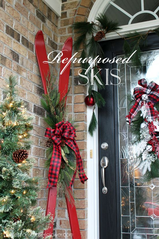 Skis turned Holiday Decor from confessionsofaserialdiyer
