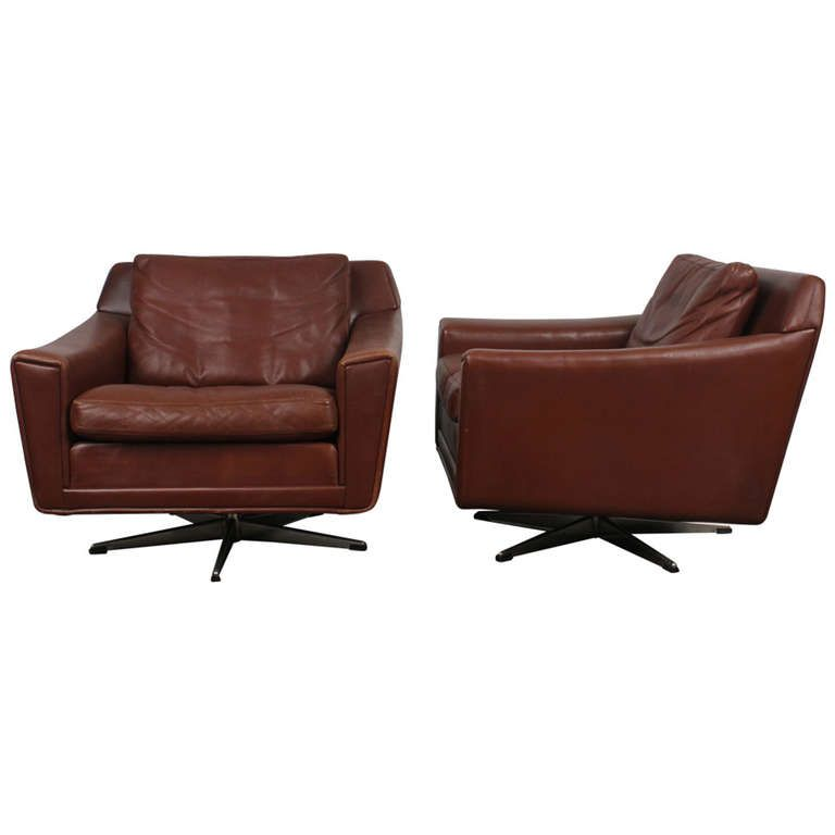 Pair Of Danish Mid Century Modern Leather Low Swivel Chairs