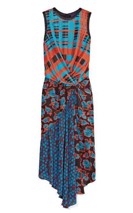 Graphic Plaid Silk Twill Twist Dress by Peter Som for Preorder on Moda Operandi