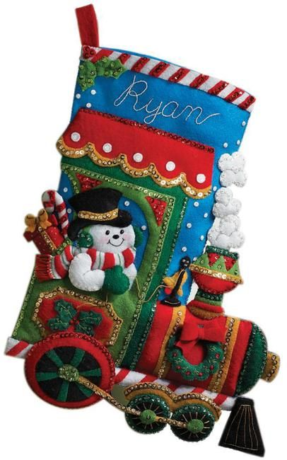 "Bucilla Engineer Santa ~ 15/"" Felt Christmas Stocking Kit #33096 Train Teddy Bear"