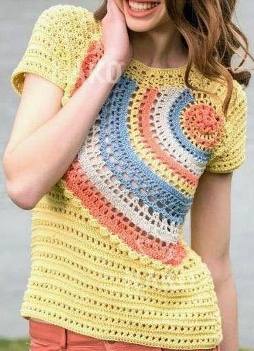 Häkelmuster Fundgrube: Shirt mit Halbkreis