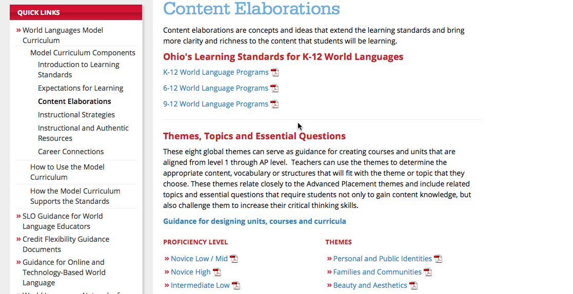 Themes, topics and essential questions that could be used