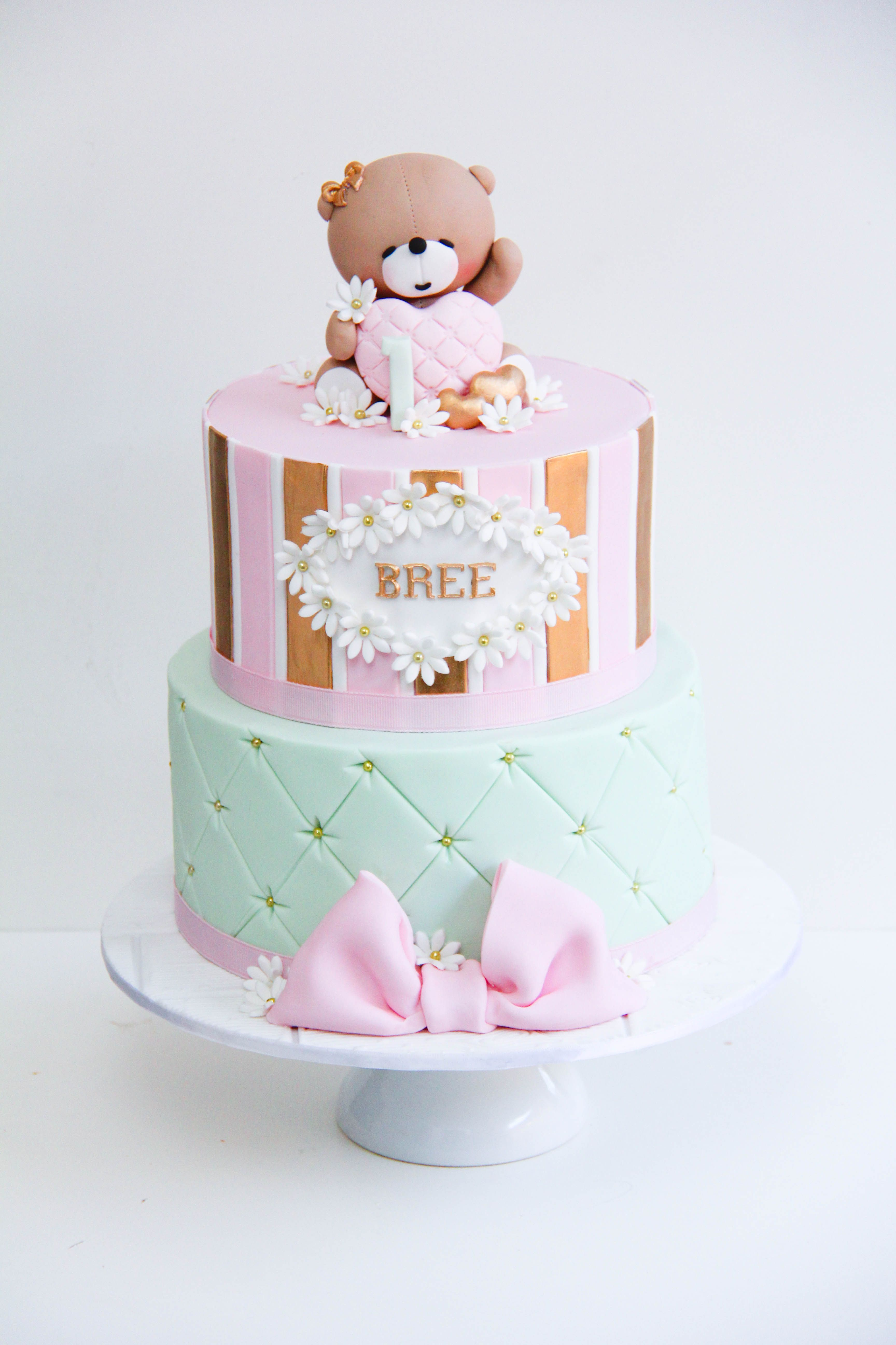 Admirable Baby Shower Girl Baby Birthday Cakes Teddy Bear Birthday Cake Funny Birthday Cards Online Fluifree Goldxyz