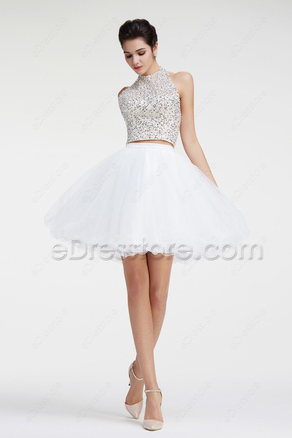 Halter Crystal Sparkly Two Piece White Short Prom Dresses