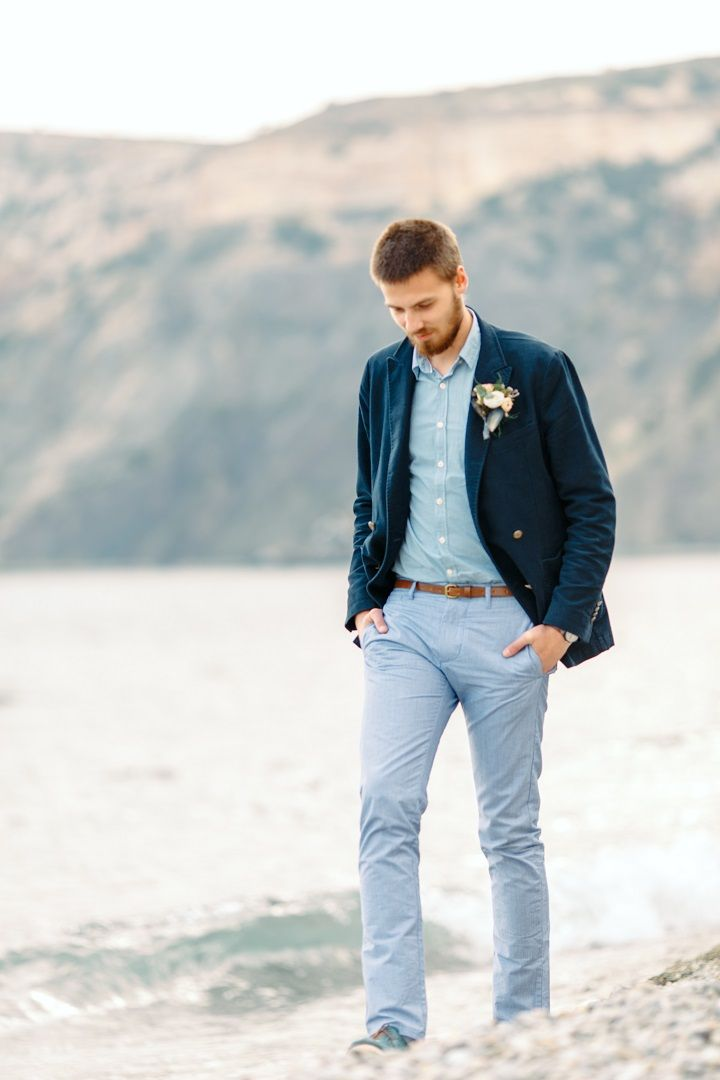 Casual groom in blue shirt and navy blue suit for beach side wedding | fabmood.com #wedding #beachwedding #casualwedding #weddinginspiration #groomstyle