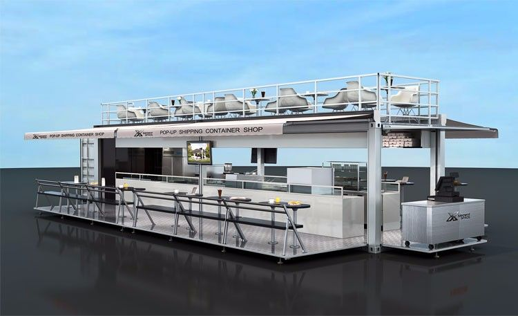 Mobile restaurant container design 10ft 20ft 40ft pop for Cout container maritime