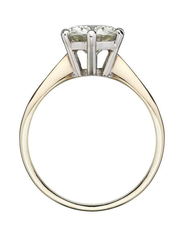 Moissanite Moissanite 9 Carat Yellow Gold 2 Carat Solitaire Ring | very.co.uk
