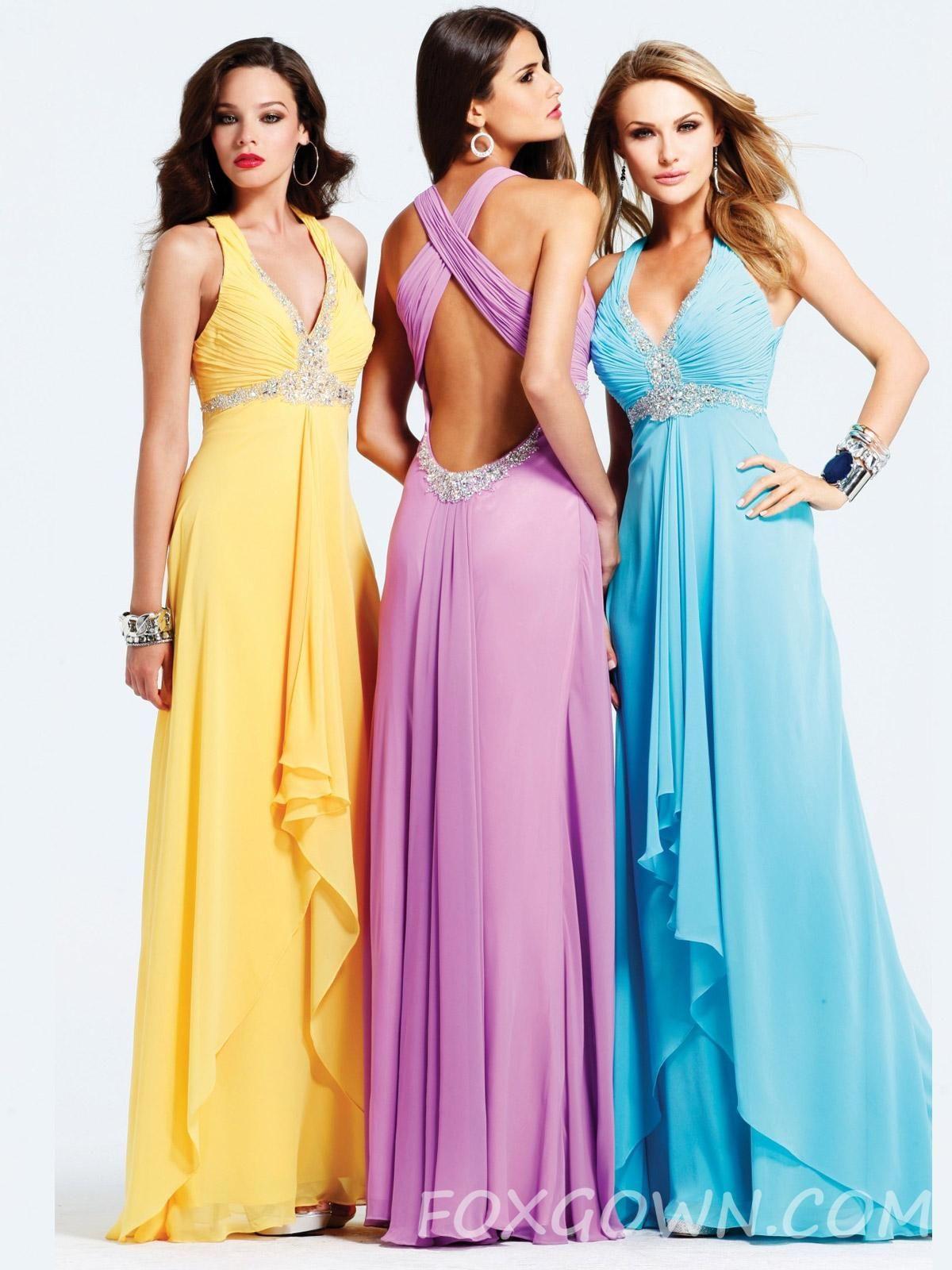 sleeveless beaded chiffon long prom dress with cross back | prom ...