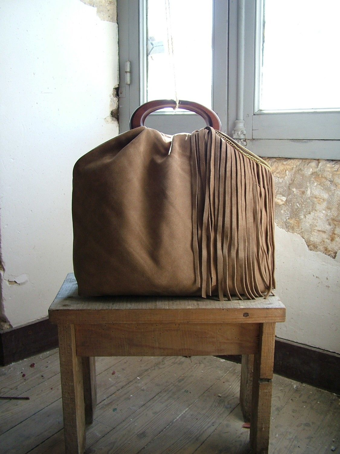 Camel Leather Hobo Purse with Suede Fringe and Vintage Brass - Made to Order. $215.00, via Etsy.