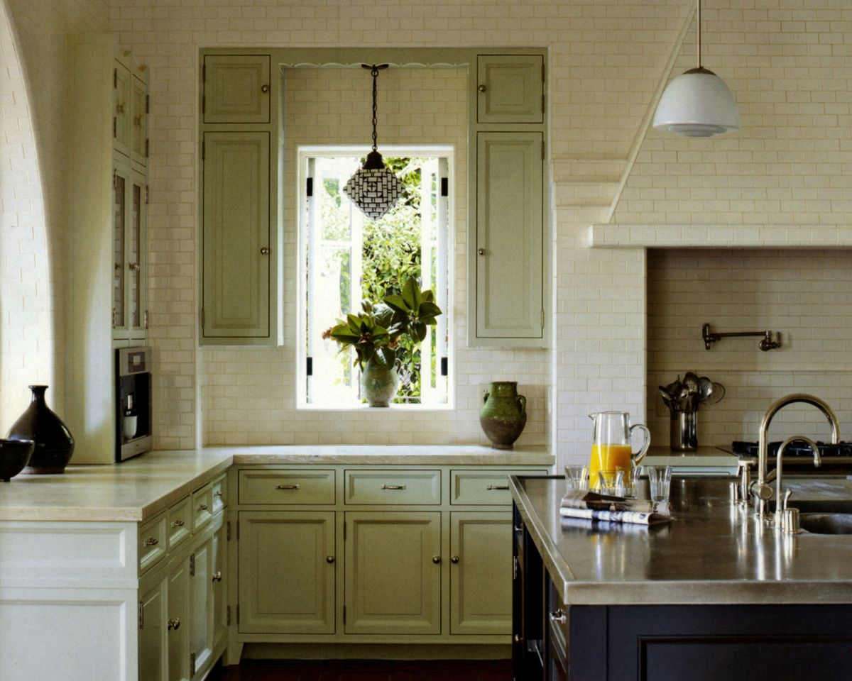 Mediterranean Kitchen In Santa Monica CA By Madeline Stuart On Blue Cabinets