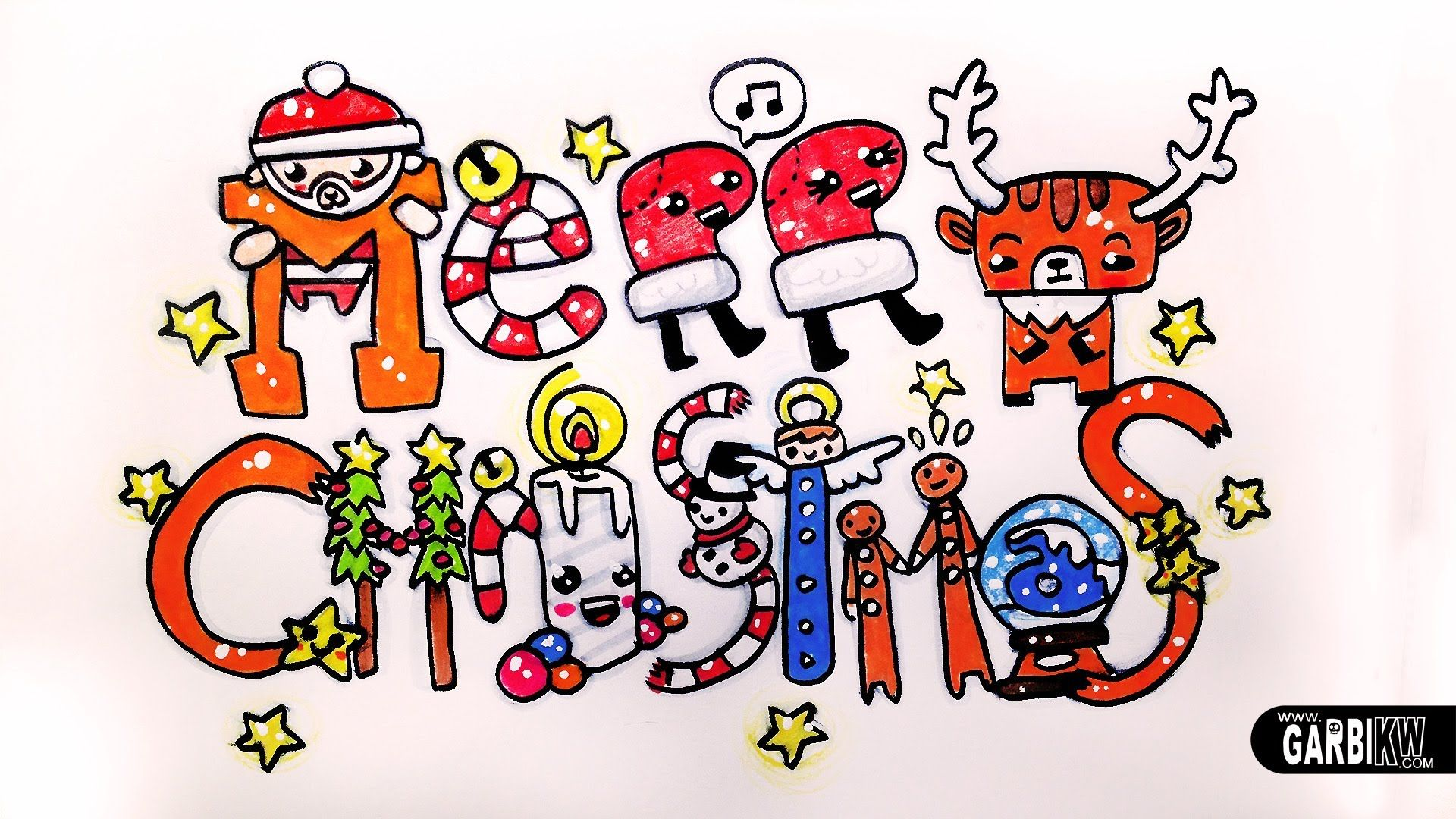 Merry Christmas How To Draw Cute and Kawaii Letters by