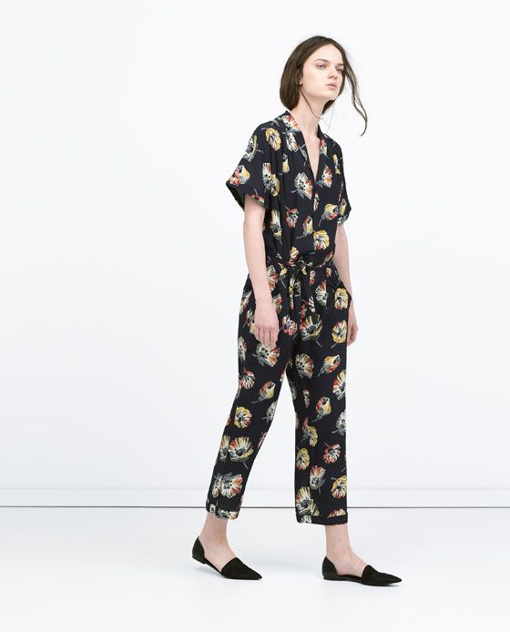 3790beb18190 Image 1 of FLORAL JUMPSUIT WITH LAPEL COLLAR from Zara