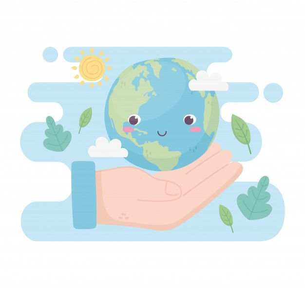 Mano con mundo deja nubes sol medio ambi...   Premium Vector #Freepik #vector #arbol #agua #hoja #luz