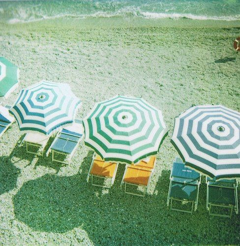 beach, chairs, green and white umbrella's