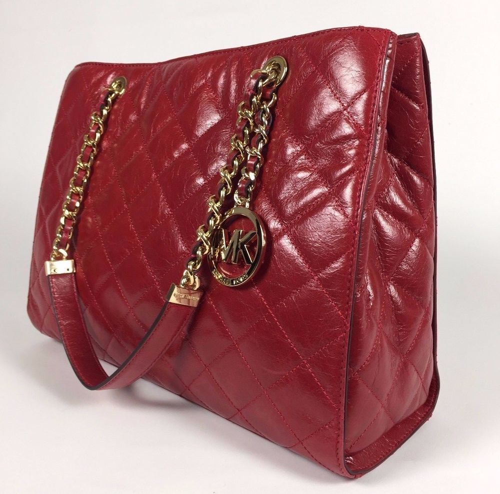 68954ba17155 NEW MICHAEL KORS QUILTED LEATHER SUSANNAH LARGE TOTE BAG RED GOLD   MichaelKors  TotesShoulderBag