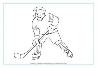 Ice Hockey Coloring Page Winter