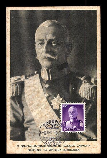 General Antonio Carmona PRESIDENT Portugal MAXIMUM postcard