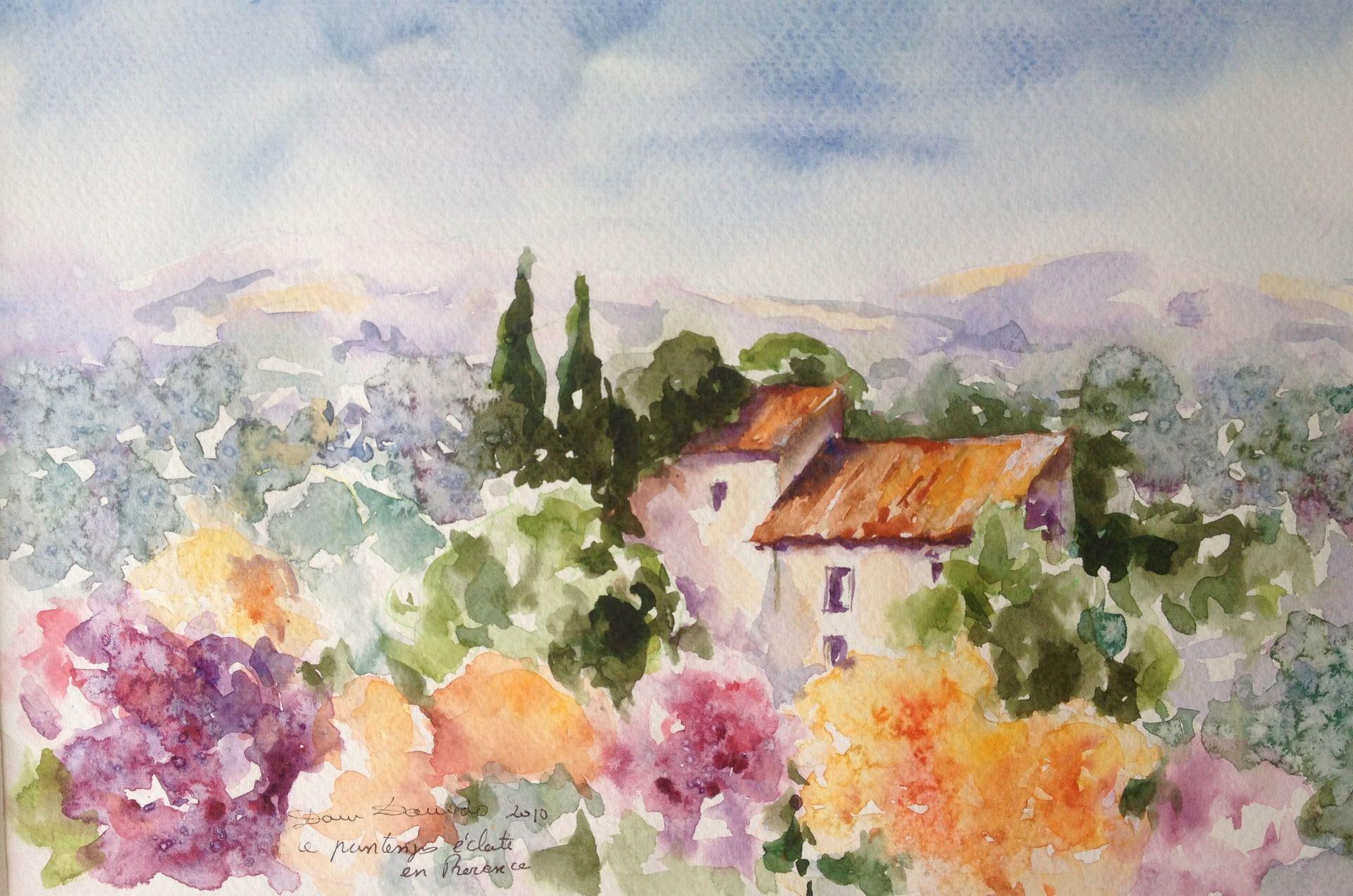 aquarelle originale et unique paysage de provence en fleur par dam domino peintures par la. Black Bedroom Furniture Sets. Home Design Ideas