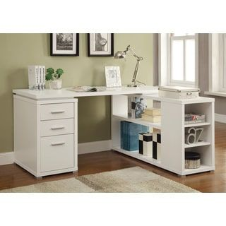 Reversible L Shape Office Desk And Bookcase Set Free Shipping Today