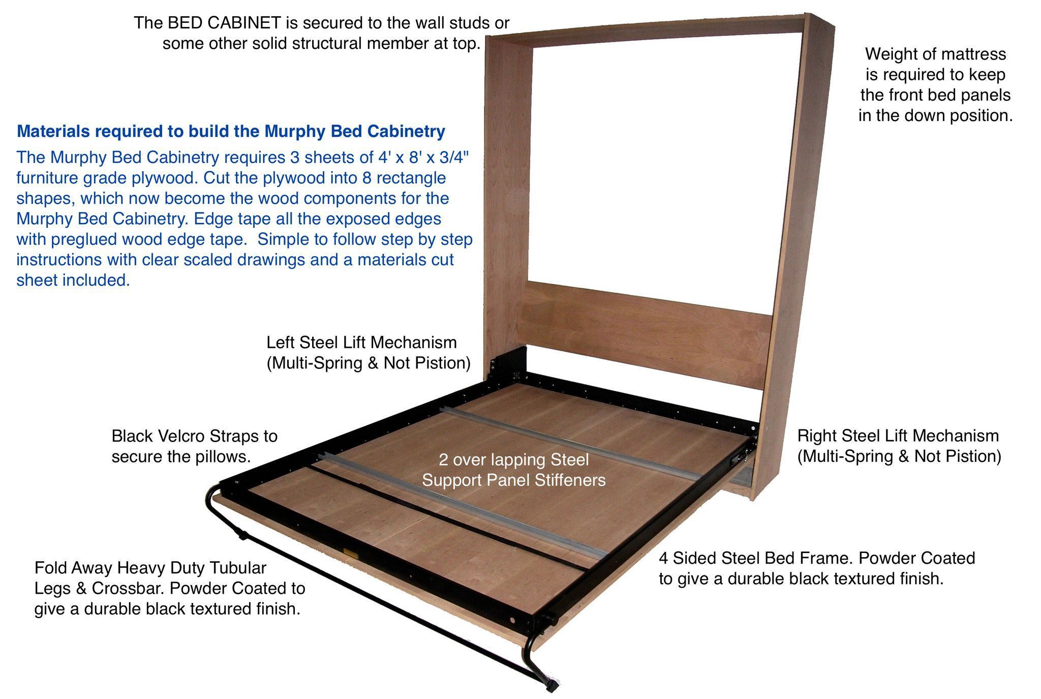 DIY Vertical Supreme Steel Frame & Mechanism Kits | Murphy bed ...