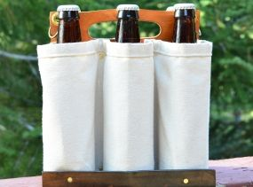 Leather and Canvas Six Pack Carrier Handmade - by TahoeMade - Personalized.