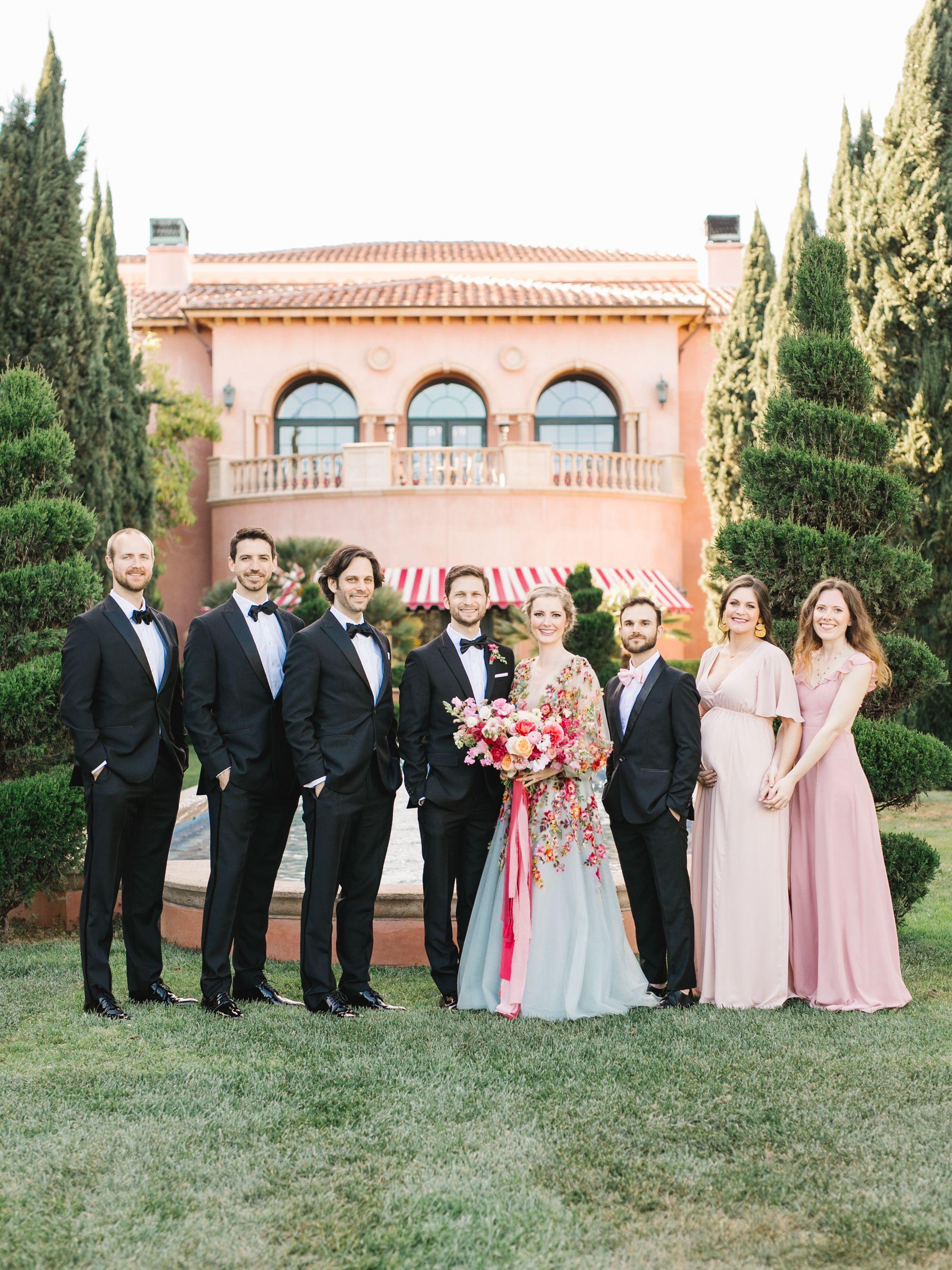 Black Tie Wedding Party Portraits Fairmont Grand Del Mar Compass Floral Wedding Florist In San Diego And Wedding Wedding Parties Pictures Wedding Dresses