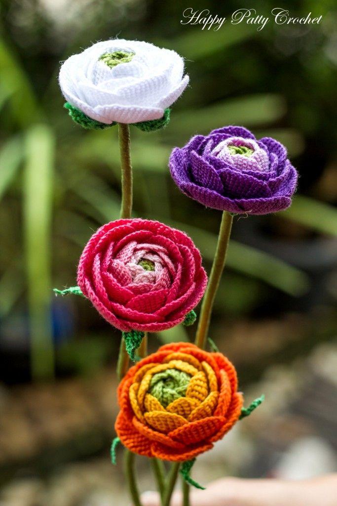 Ranunkeln | Häkeln | Pinterest | Ranunkeln, Häkeln und Blumen häkeln