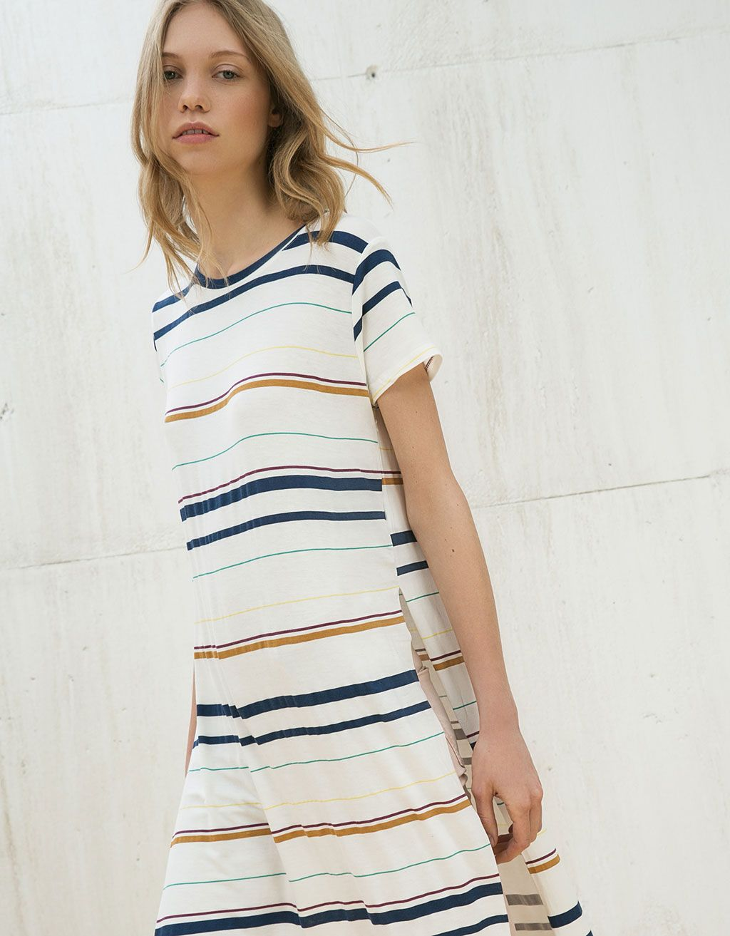 Side opening striped long top - New - Bershka Mexico