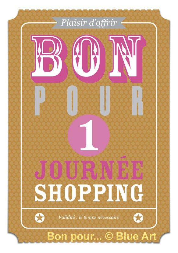 Carte bon pour 1 journ e shopping 12x17cm id es d co diy shopping et diy - Bon pour a imprimer gratuit ...