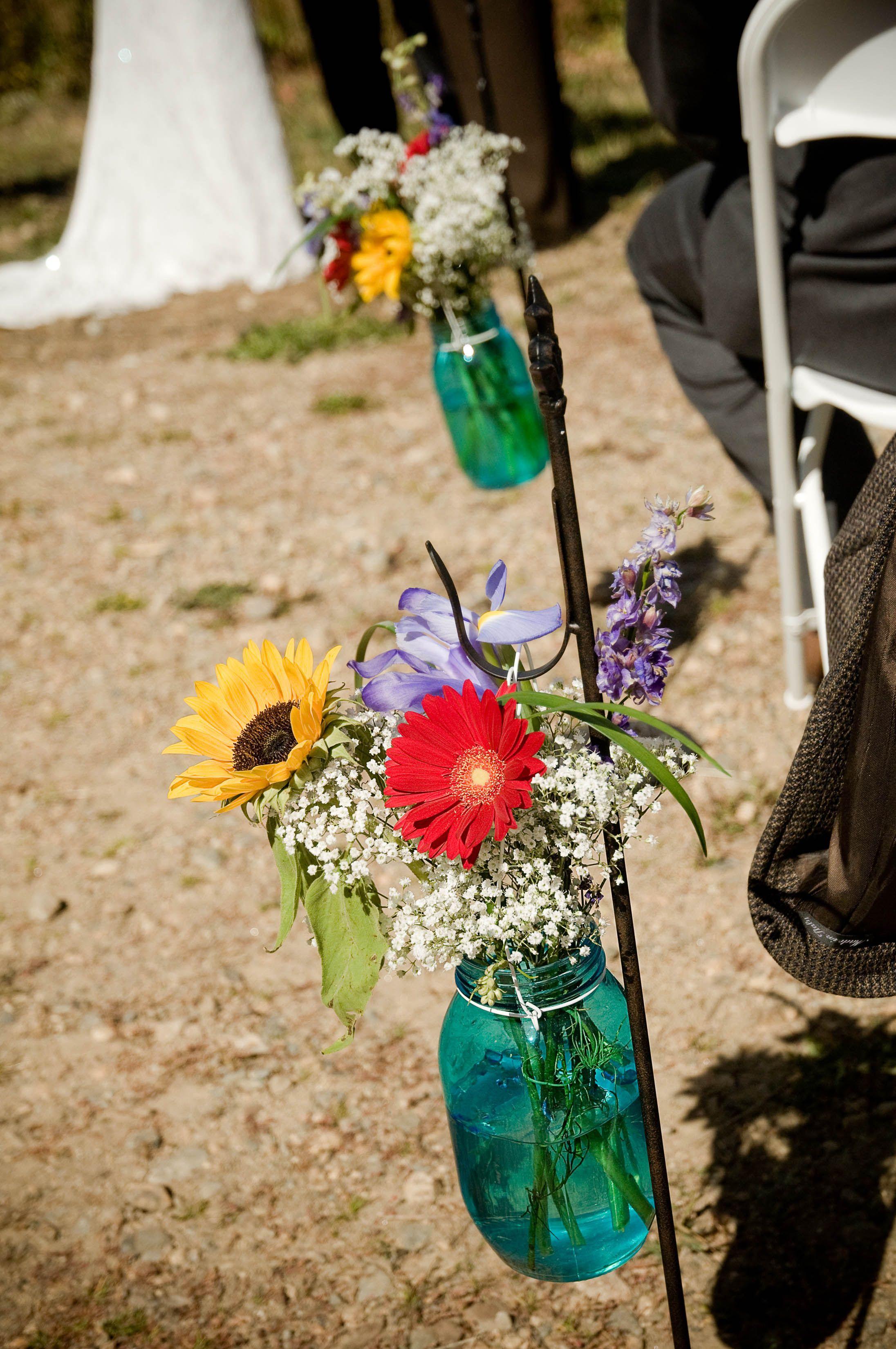 mason jars with flowers