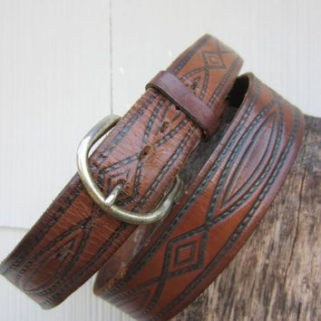 70s Mexican Tooled Western Leather Belt, W38 W40 W42 97