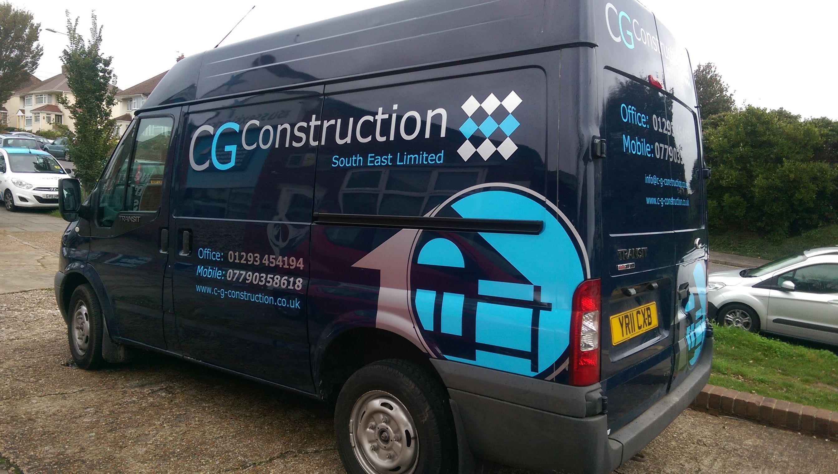 Cg Construction Van Partial Vinyl Wrap Done By The Sussex Sign Comany Van Signwriting Van Signs Van Design