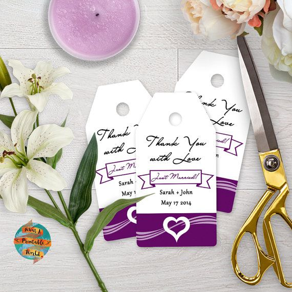 Thank You Tag purple heart customizable di WhatAPrintableWorld
