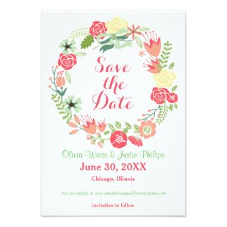 "Pink Floral Wreath - 3x5 Save the Date 3.5"" X 5"" Invitation Card"